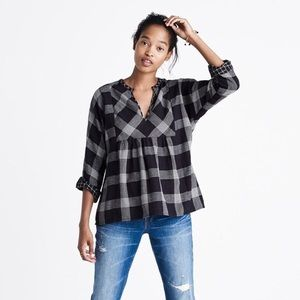 Madewell Boheme Popover Hayden Plaid Shirt Size XS